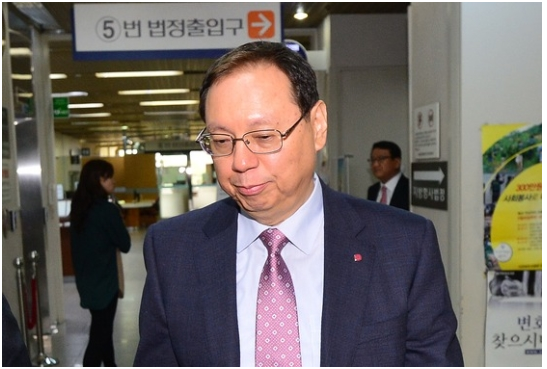 LG Electronics President Jo Seong-jin attends the final trial in the court of appeals held at Seoul High Court on April 13.