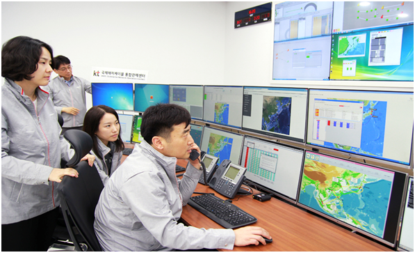 KT employers inspect undersea cable networks at the Submarine Network Operation Center (SNOC) in Songjeong, Busan.