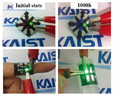 A KAIST team developed OLED technology that can realize OLEDs on a textile substrate.