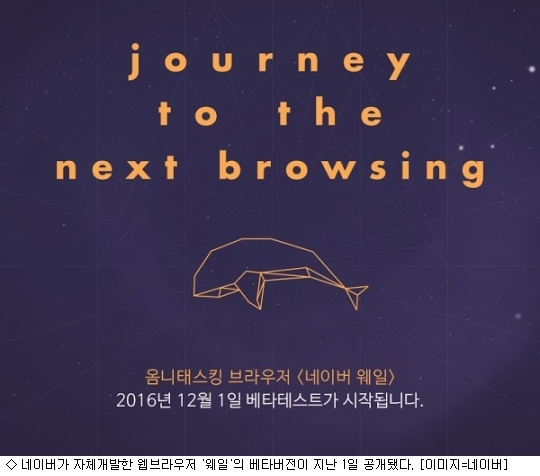 Naver has released a beta test version for its web browser called Whale, challenging the market dominated by Microsoft's Internet Explorer (IE) and Google's Chrome.