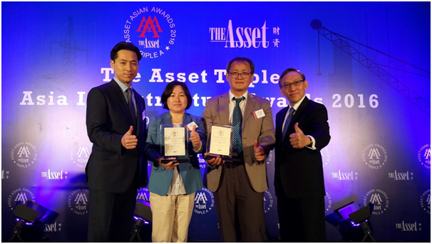 Lee Yung-hyun, the Senior Manager of Foreign Division, Park Min-ha, Lawyer, Lee Jun-Seung, Senior Manager of KOEN and Daniel Yu, the Chief Editor and co-founder of The Asset pose in the award ceremony (from left).