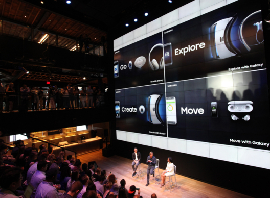 Executives of Samsung Electronics America are introducing Gear Fit 2 and Gear Icon X at the marketing center in New York on June 2, 2016.