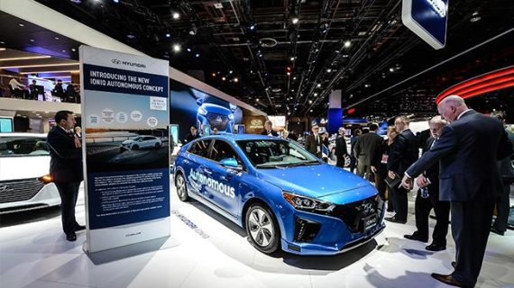 Hyundai Motor showcased Ioniq Connected Car adopting the voice command-based AI assistant at the 2017 North America International Auto Show.
