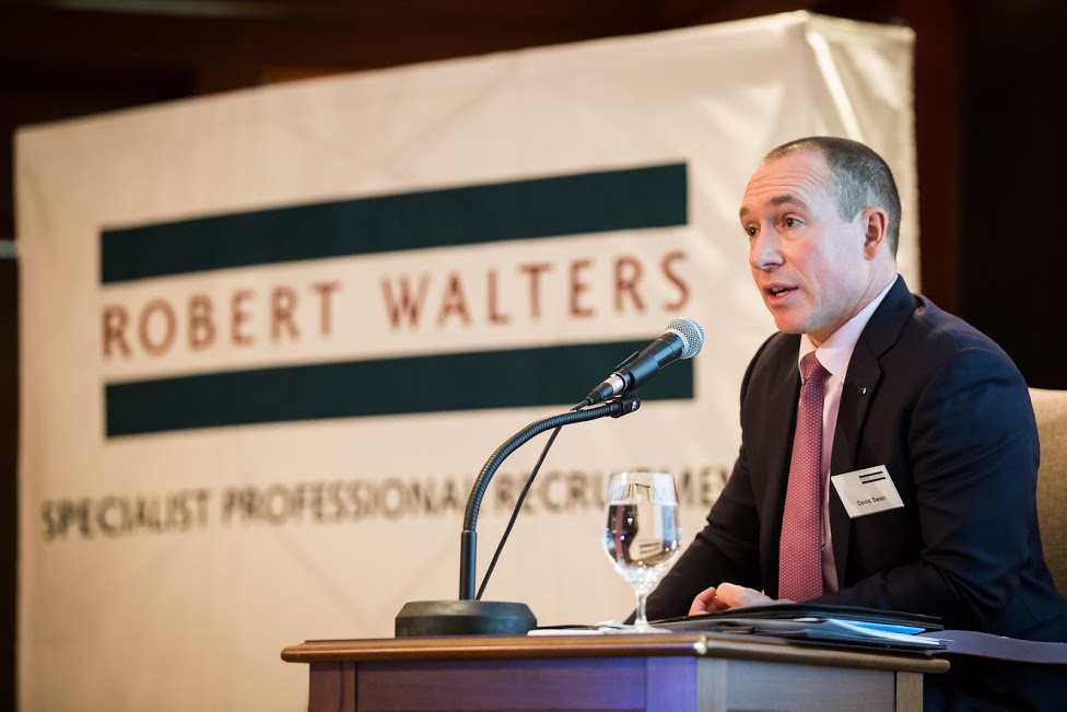 David Swan, managing director of Japan and Korea at Robert Walters, speaks about trends in local salaries at at the Grand Intercontinental Seoul on Feb. 2, 2017.