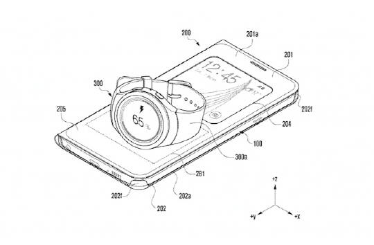 A patent image of Samsung's smartphone case which charge a smart device, including the Gear S, wirelessly by placing on the top of the case.