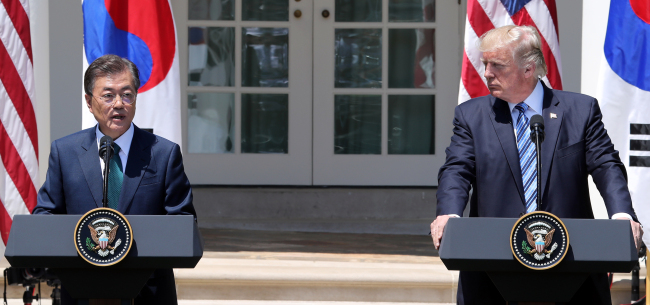 South Korean President Moon Jae-in and U.S. President Donald Trump released a joint statement at the White House on June 30 (local time).