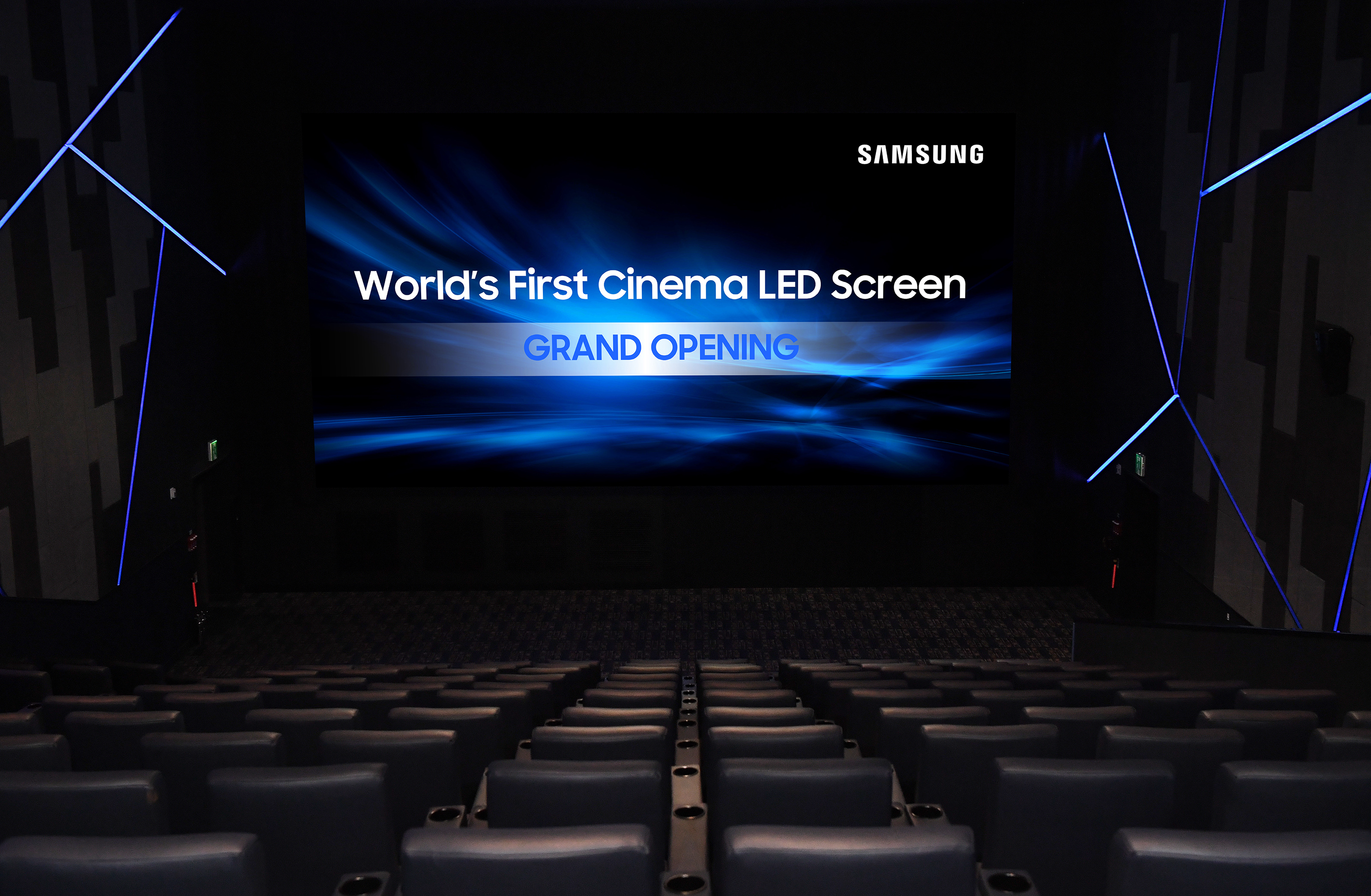 Samsung Electronics models are introducing the world's first 'Cinema LED' installed at the movie theater 'SUPER S' of Lotte Cinema at World Tower in Jamsil, Seoul on July 13.
