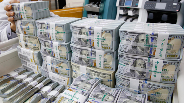 South Korea's foreign exchange reserves totaled US$384.84 billion as of the end of last month, showing a month-on-month increase of US$1.08 billion.