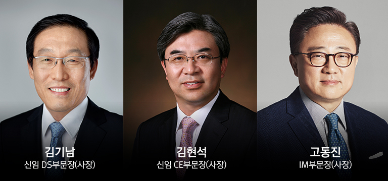 Samsung Electronics appointed Kim Ki-nam, Kim Hyun-suk, and Ko Dong-jin as the new heads of its Device Solutions (DS), Consumer Electronics (CE), and IT & Mobile Communications (IM) Divisions.