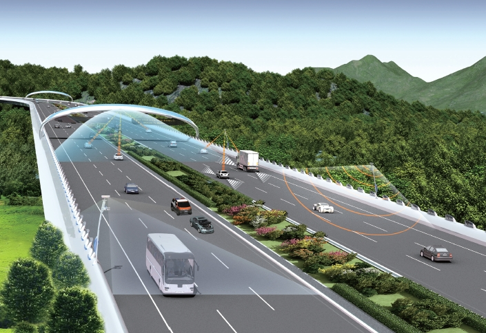 A self-driving will be tested running on a road while exchanging information with road infrastructure in real time for the first time in Korea.
