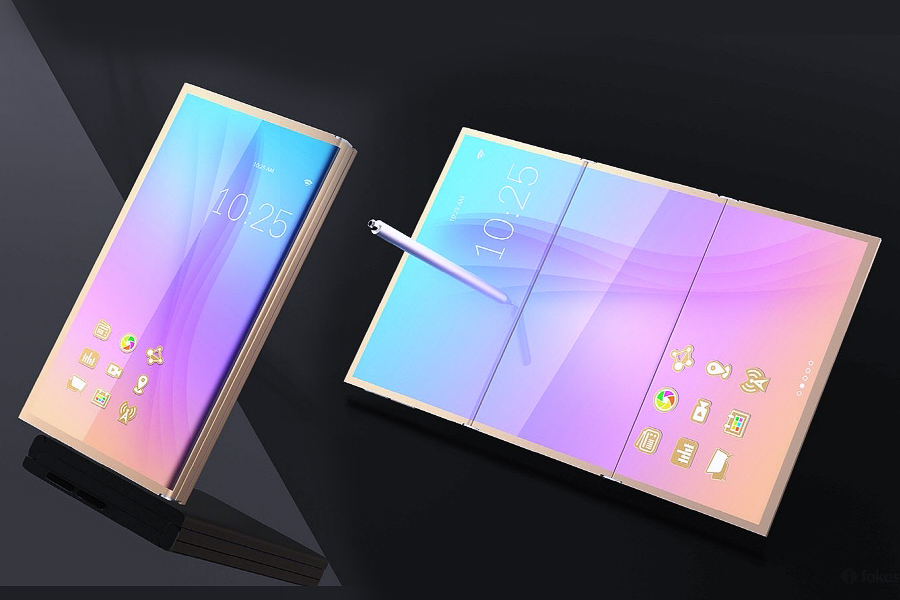 "A concept image of Galaxy X. It is highly likely that Samsung Electronics will name the foldable smartphone to be launched next year ""Galaxy X."""