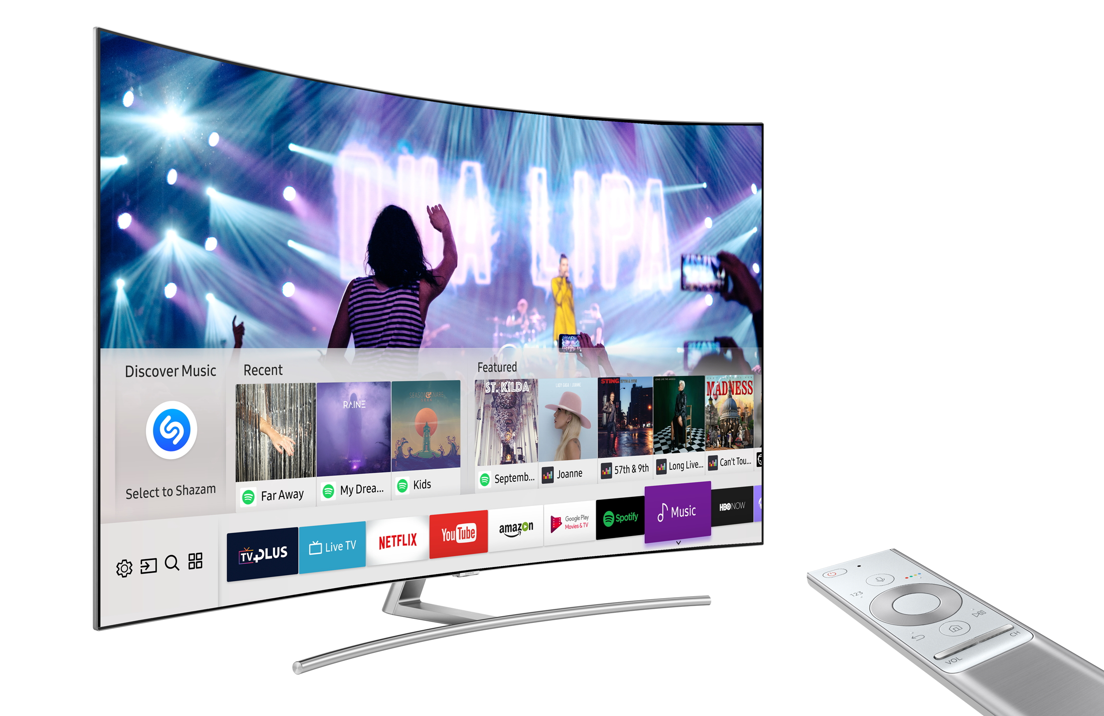 Samsung smart TV providing songs and movies with various content suppliers such as Amazon and Netflix. (photo courtesy: Samsung Electronics)
