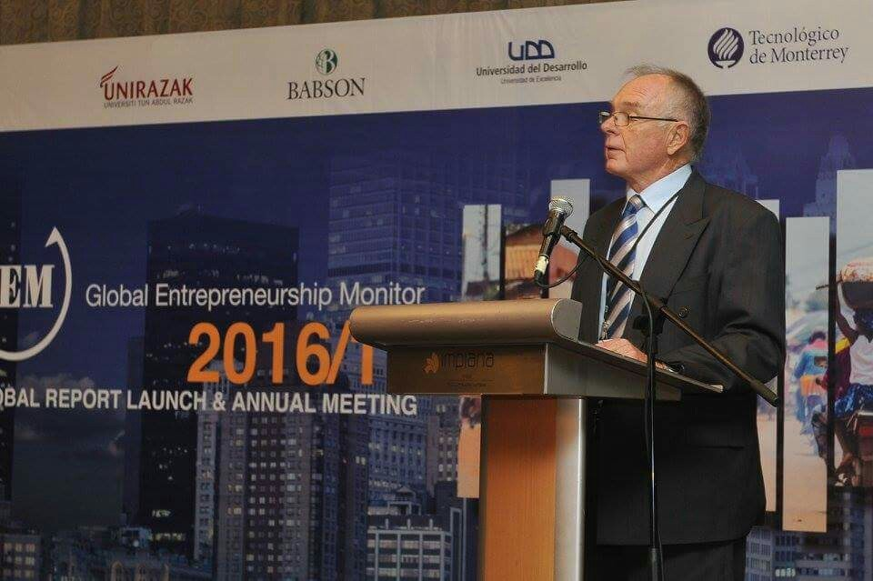 Mike Herrington, director general of the GERA and a professor of Cape Town University in South Africa, delivers a speech in the GEM 2017 Annual Meeting ran at Impiana KLCC Hotel in Kuala Lumpur, Malaysia.
