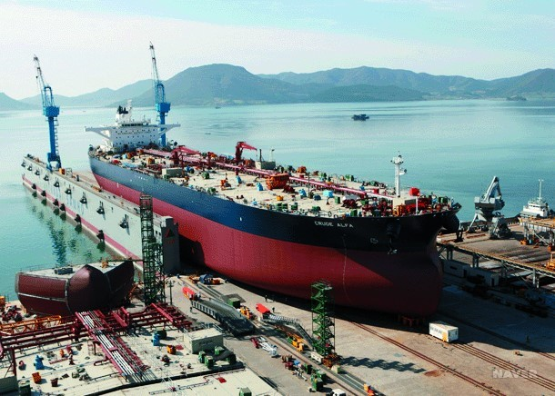Hyundai Heavy Industries and Samsung Heavy Industries respectively ranked first to third in terms of order backlog as of the end of December last yea