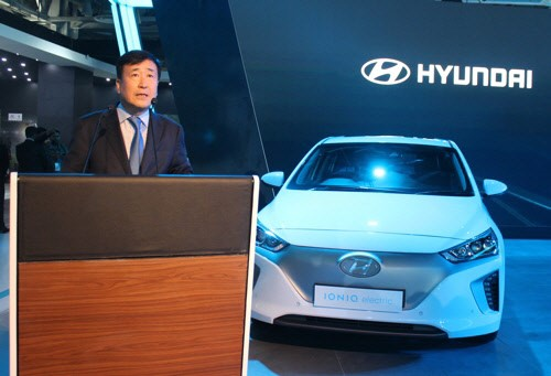 Koo Young-ki, head of Hyundai Motor India is introducing the electric car Ioniq at the 'Auto Expo 2018' (Delhi Motor Show) in Greater Noida near New Delhi, India.