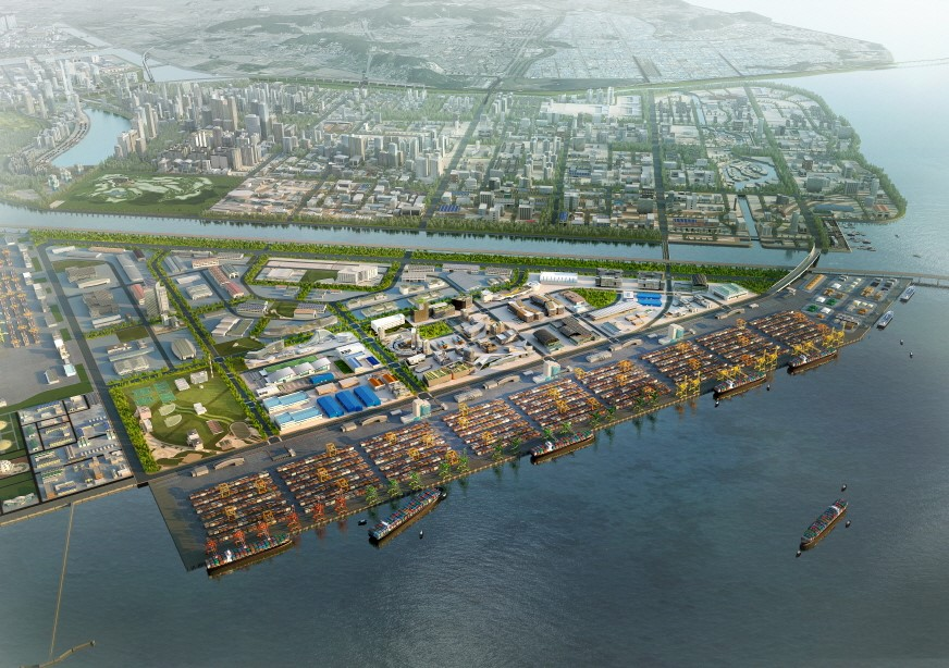 A panoramic view of Incheon New Port.
