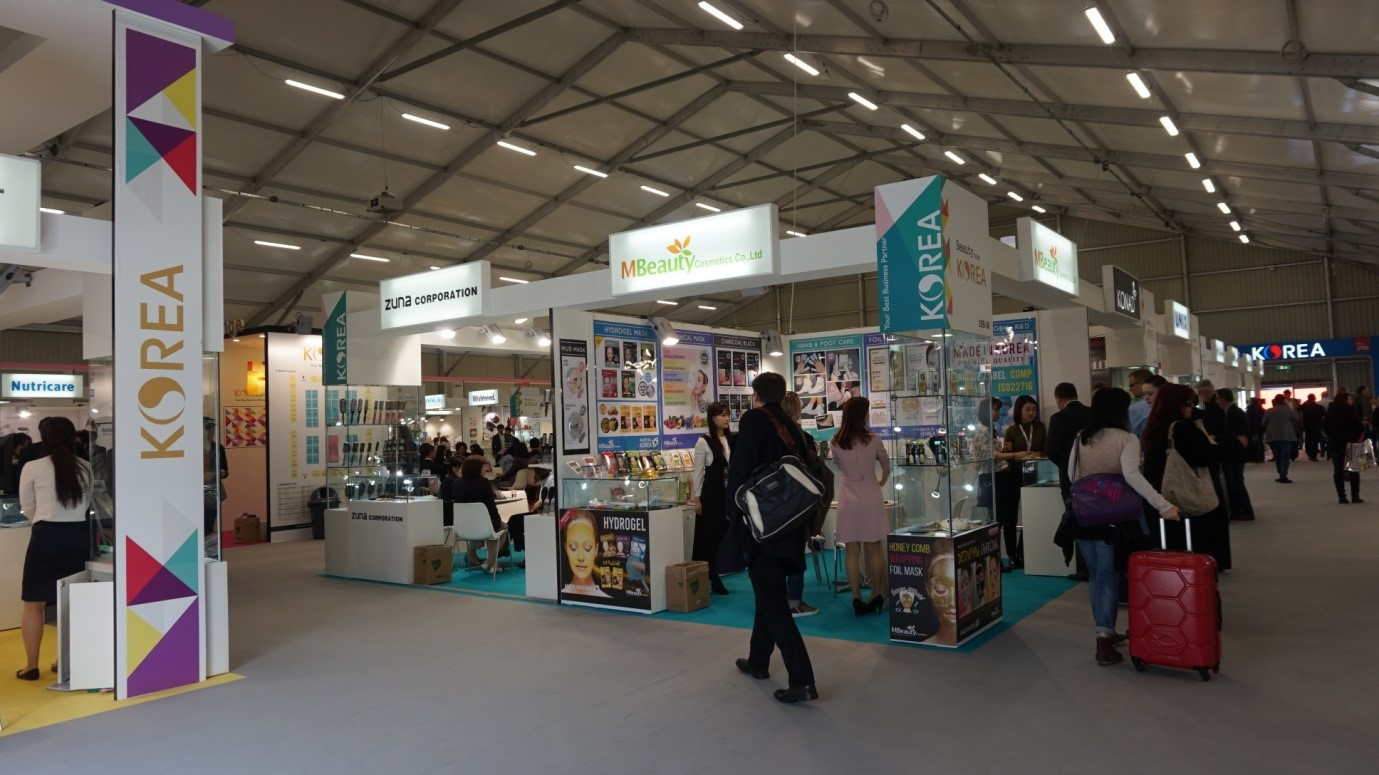 The Korean hall at the Cosmoprof Worldwide Bologna 2017.