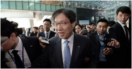 POSCO Chairman Kwon Oh-jun emerges from an emergency board meeting on April 18.
