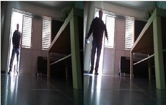 An LG robot cleaner detected the burglar's movement and took the pictures with its Home Guard feature.