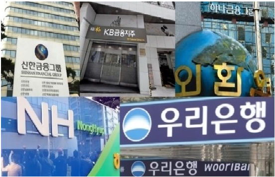 The four major Korean financial groups -- Shinhan, Hana, KB Kookmin and NH -- are entering overseas financial investment, insurance and credit card markets based on their international banking networks.