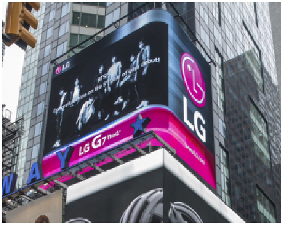 A video clip of LG Electronics supporting BTS on New York Time Square
