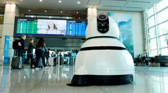Incheon International Airport is using the LG Guide Robot and LG Cleaning Robot.