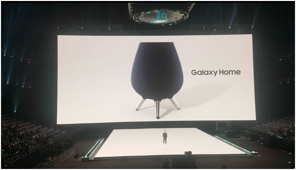 "Lee Ji-soo, executive director of the AI Strategy Group at Samsung's Wireless Business Division is introducing Samsung Electronics's first AI speaker ""Galaxy Home."""