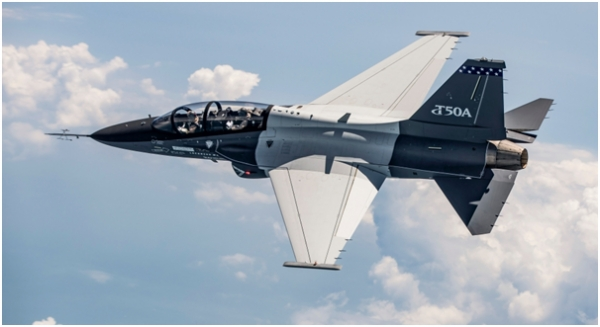 A flight of the T-50A jointly developed by KAI and Lockheed Martin.