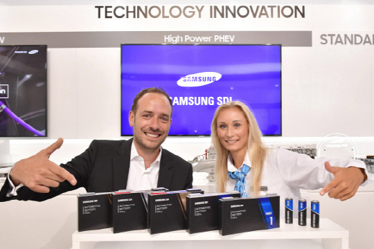 Samsung SDI's battery products displayed at the Frankfurt Motor Show in Germany.