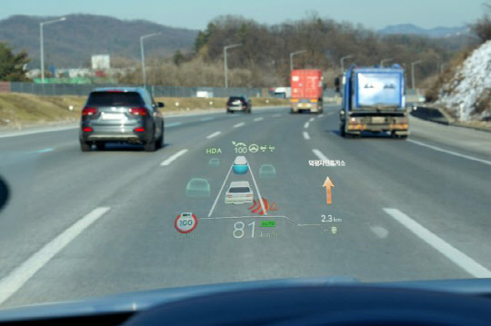 A windshield HUD from Hyundai Mobis