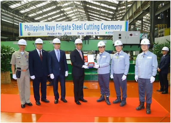 Hyundai Heavy Industries holds a ceremony to celebrate the start of construction work for a multi-purpose battleship for the Philippine Navy at its headquarters on May 1.